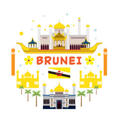 Brunei travel and attraction label vector