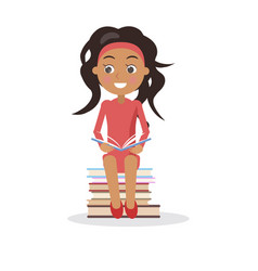 brunette young girl in dress with open textbook vector image
