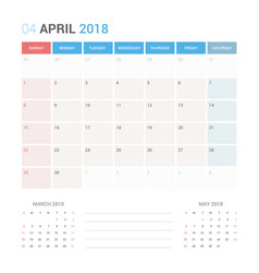Calendar planner for april 2018 vector