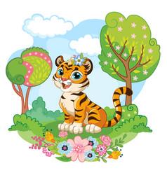Cartoon tiger on nature vector
