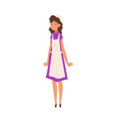 Cheerful woman in apron saleswoman character in vector