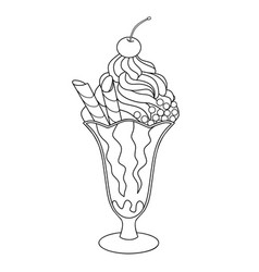 Cherry ice cream for coloring book vector