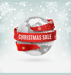 Christmas sale earth icon with red ribbon around vector