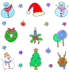 Christmas set design element of doodle vector image