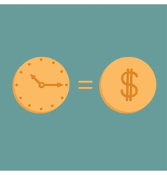 Clock and dollar coin Icons Time is money vector image
