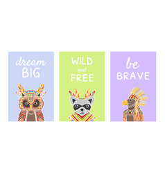 collection cards with inspirational quotes and vector image