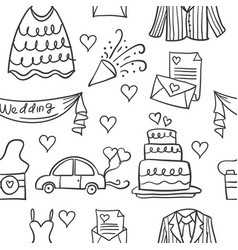 Collection of element wedding doodles vector