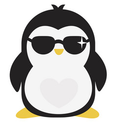 cool penguin on white background vector image