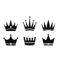 Crown icon silhouette crowns queens kings set vector