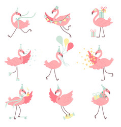 Cute pink flamingos in party hats set beautiful vector