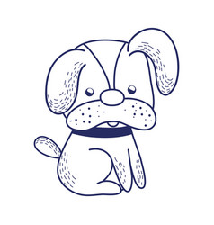 cute puppy dog sitting cartoon isolated icon vector image