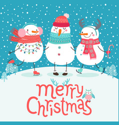 cute snowmen hugging merry christmas card cute vector image