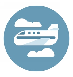 Digital aeroplane in blue circle vector