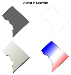 District of columbia outline map set vector