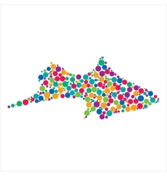 Dotted fish silhouette vector