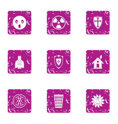 Eco defend icons set grunge style vector