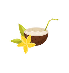 exotic coconut cocktail with plumeria flower vector image