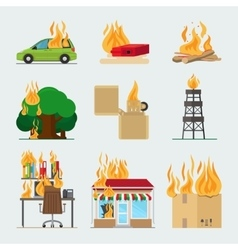 Fire risk icons vector