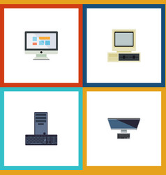 flat icon laptop set of processor computer pc vector image