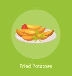 fried potatoes with vegetables on plate vector image