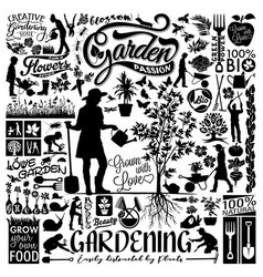 gardening lover flower plants collection set vector image