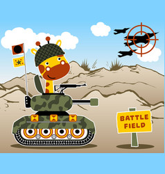 Giraffe cartoon on armored vehicle vector