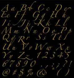 golden handwritten alphabet numbers and signs vector image