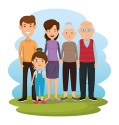 group of family members avatars characters vector image