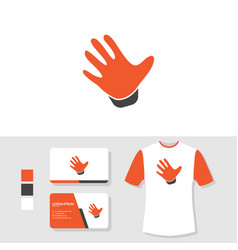 hand palm logo design with business card and t vector image