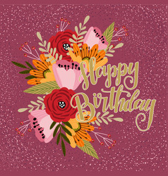 happy birthday floral hand draw design concept vector image