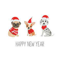 Happy new year greeting card cute dogs in funny vector