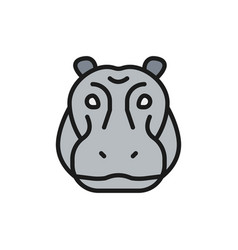 Hippo glyph river-horse hippopotamus flat vector