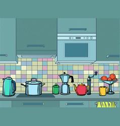 home kitchen mockup background vector image