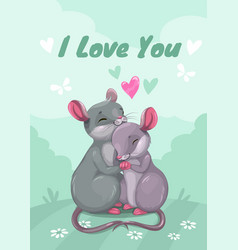 I love you mouse in love vector