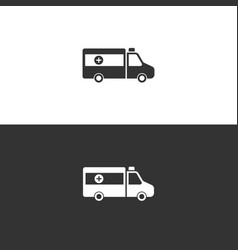 Isolated ambulance icon on black and white vector