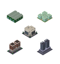 Isometric building set of clinic tower company vector