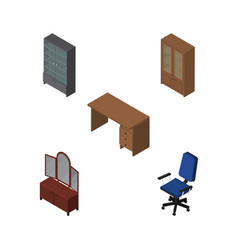 Isometric furnishing set of drawer office table vector