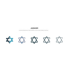 Judaism icon in different style two colored and vector