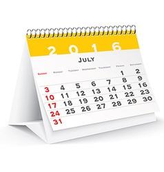 July 2016 desk calendar vector