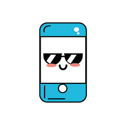 Kawaii cute happy smartphone with glasses vector
