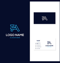 Letter a outline modern with business card logo vector