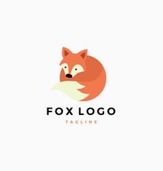 little cute fox flat logo mascot template vector image