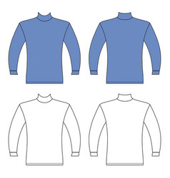 long sleeve high collar t-shirt outlined template vector image