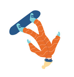 man in snowsuit performing snowboard trick guy in vector image