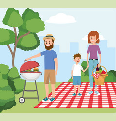 man with grill and woman with boy in the vector image