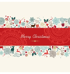 Merry Christmas vintage pattern greeting card vector