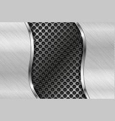 Metal perforated background with brushed iron vector