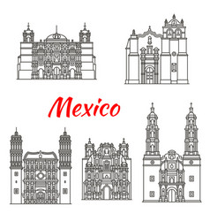 mexican travel landmark icon with catholic church vector image