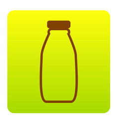 milk bottle sign brown icon at green vector image