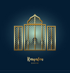 mosque window greeting card with arabic vector image